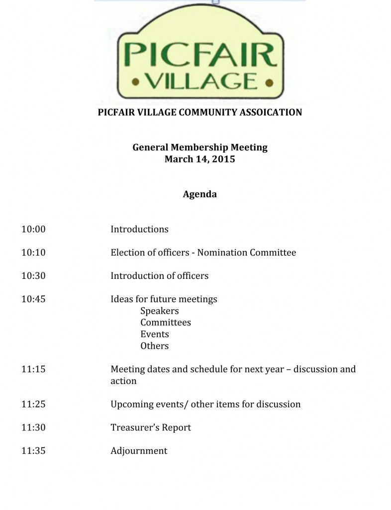 Agenda for March Meeting